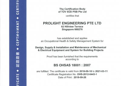 BS OHSAS 18001 : 2007 Certificate