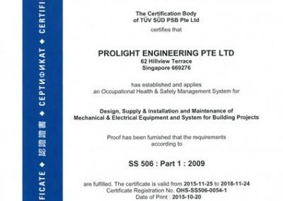 SS 506 : Part 1 : 2009 Certificate